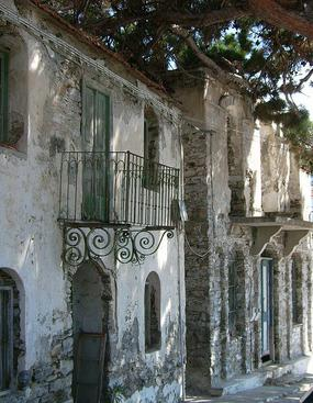 Traditional old buildings in Evdilos, Ikaria